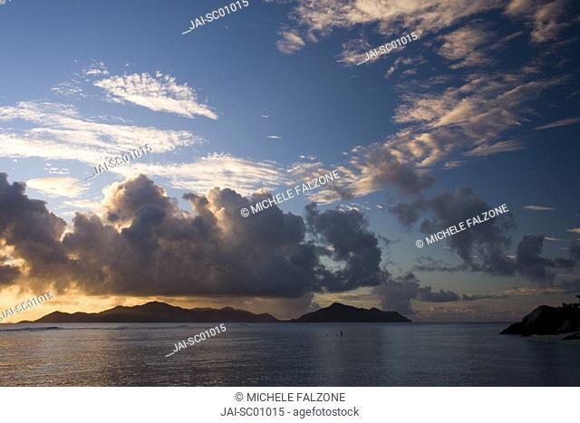 Island of Praslin viewed from Anse Source d'Argent, La Digue, Seychelles