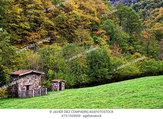 Cabins. Route of El Alba. Redes Natural Park and Biosphere Reserve. Soto de Agues. Sobrescobio Council. Asturias. Spain