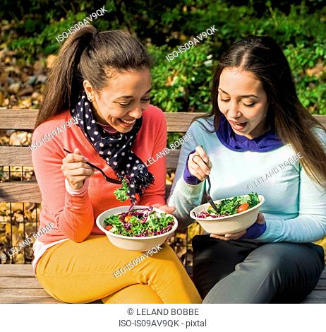 Young adult female twins sitting on park bench chatting and eating lunch