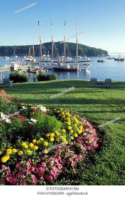 Bar Harbor, ME, Mount Desert Island, Maine, Scenic view of Frenchman Bay from Bar Harbor Inn in Bar Harbor on the Atlantic Ocean