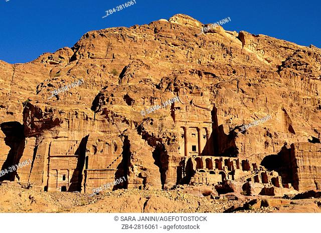 View of Royals Tombs, Archaeological site, UNESCO World Heritage Site, Petra, Jordan, Middle East