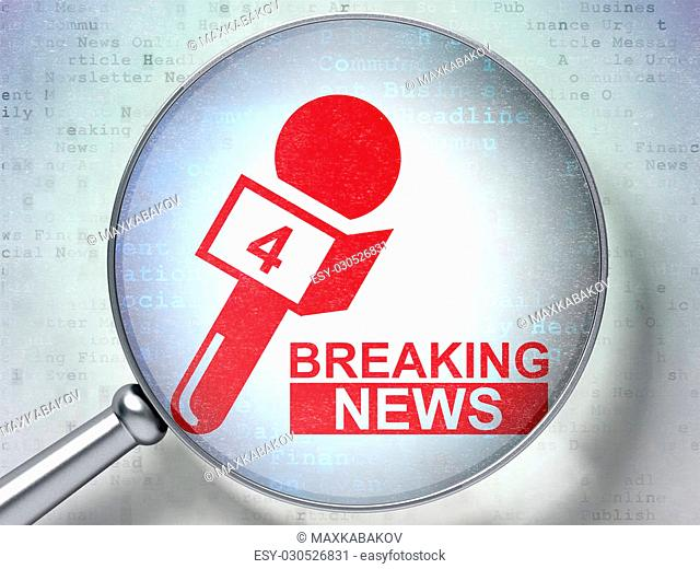 News concept: magnifying optical glass with Breaking News And Microphone icon on digital background, 3D rendering