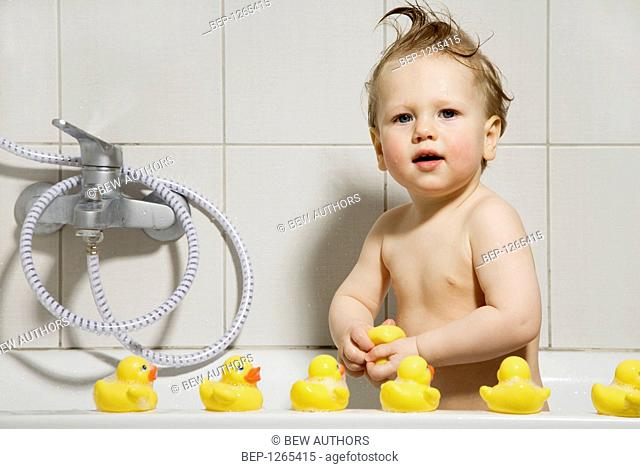 Baby in bath portrait