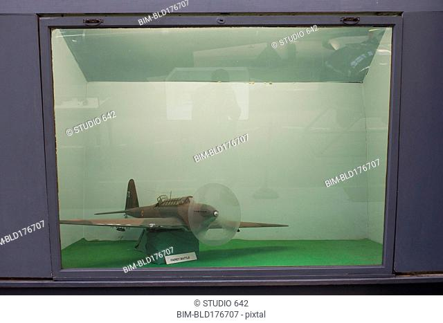 Airplane in museum diorama display