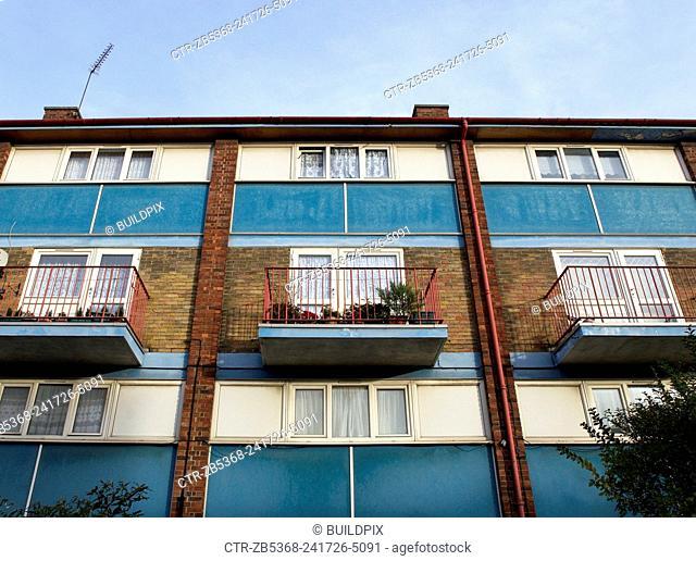 Council estate facade, East London, UK