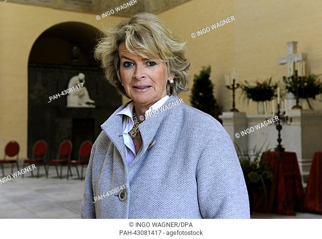 Caroline, Duchess of Oldenburg tours the newly renovated Herzogliches (Ducal) Mausoleum at the Gertrude Cemetery in Oldenburg, Germany, 01 October 2013