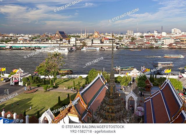 View of the old city of Bangkok from the Buddhist temple of Wat Arun, Thailand