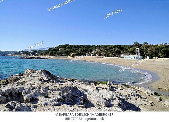 De l`Ampolla Beach, Moraira, Alicante, Costa Blanca, Spain