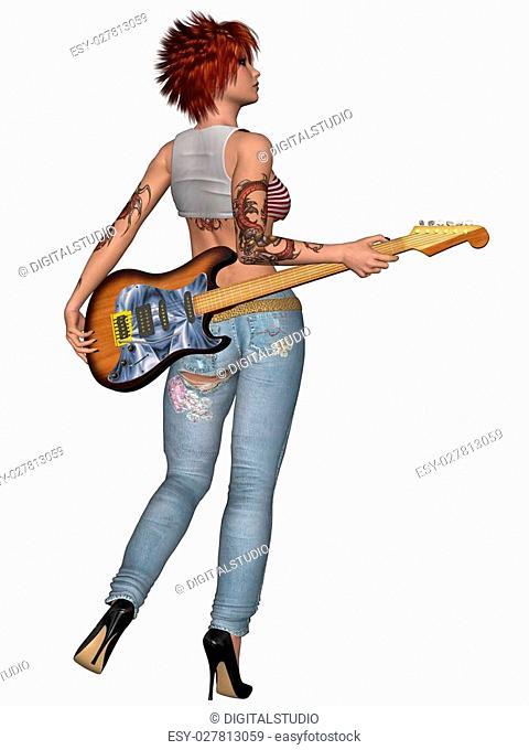 3D Render of an Popstar with Guitar