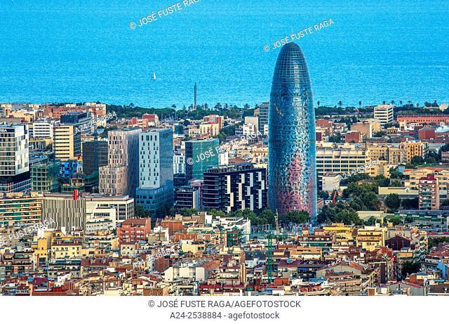 Spain, Catalonia, Barcelona City , sunset Agbar Tower