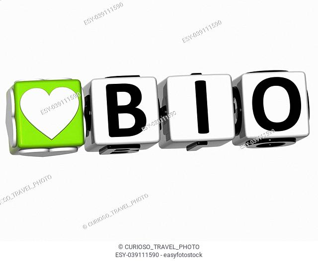 3D Love Bio Button Click Here Block Text over white background