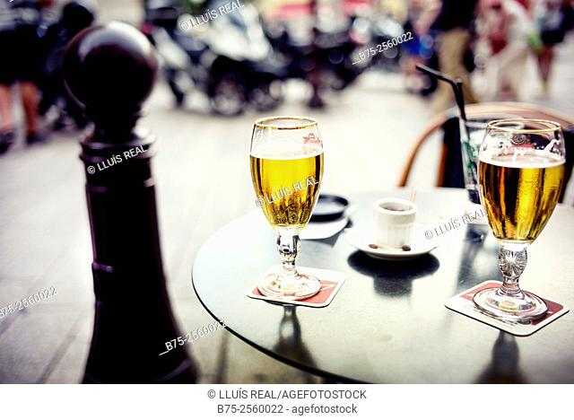 Table on the terrace of a bar, with two beers. Nice, Provence-Alpes-Cote Azur, France, Europe