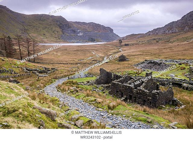 Cwmorthin Quarry and Cwmorthin Lake, Vale of Ffestiniog, Gwynedd, North Wales, Wales, United Kingdom, Europe