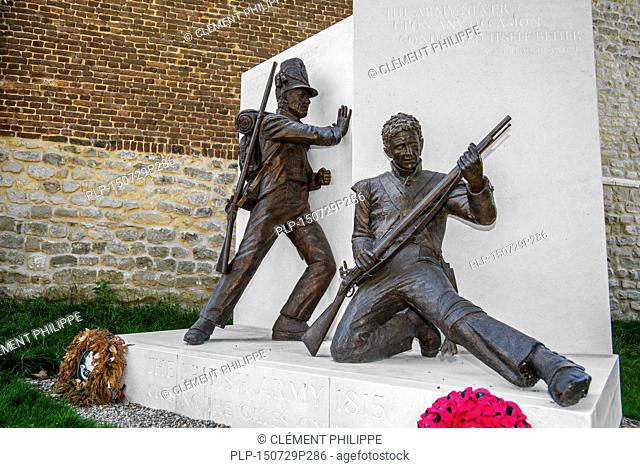 Memorial by Vivien Mallock at the Château d'Hougoumont, farmhouse where British and other allied forces faced Napoleon's Army at the Battle of Waterloo on June...
