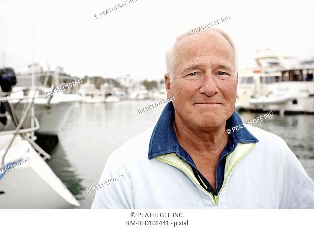 Serious man in marina
