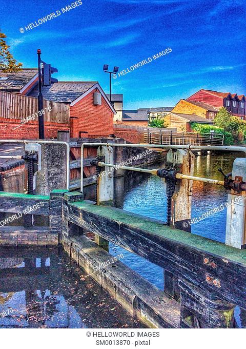 Canal lock gates, England