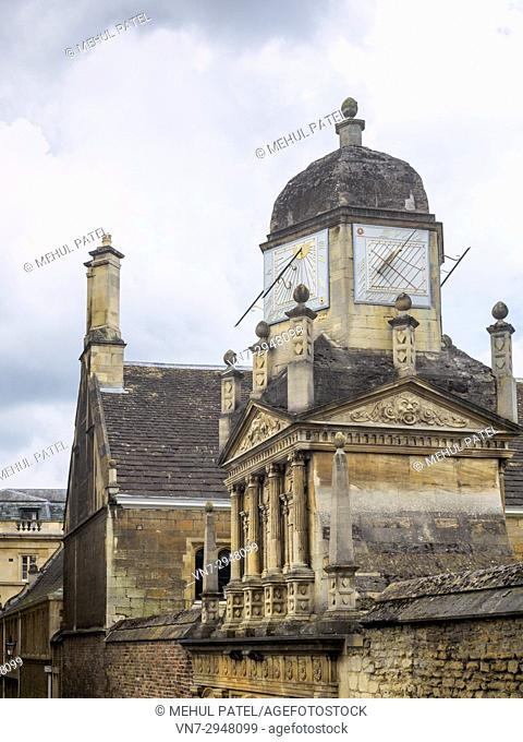 Sundials above the Gate of Honour at Gonville & Caius College, University of, Cambridge, England, UK