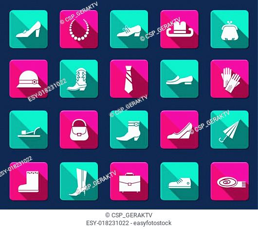 Shoes and accessories icons