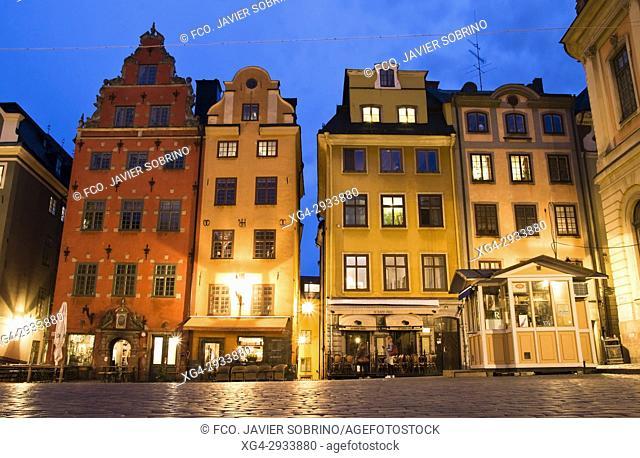 Buildings in Stortorget square. Gamla Stan. Stockholm. Sweden. Scandinavia