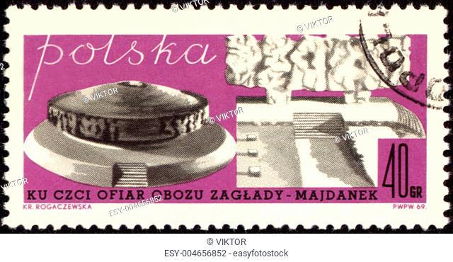 German nazi concentration camp Majdanek on post stamp