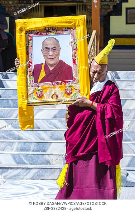Buddhist Tibeti monk Participates in the Ladakh Festival in Leh India