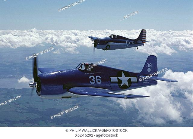 World War II US fighters: Grumman F6F-5 Hellcat (in foreground) and F4F Wildcat