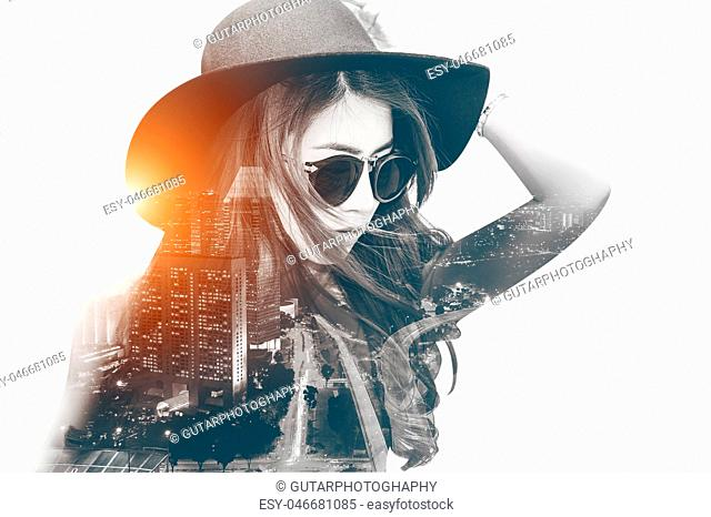 Double exposure,Beautiful girl and cityscape