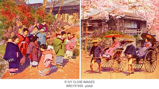 These scenes in Japan date to 1909. They shows babies and big sisters (left) and a jinrikisha man during cherry blossom time