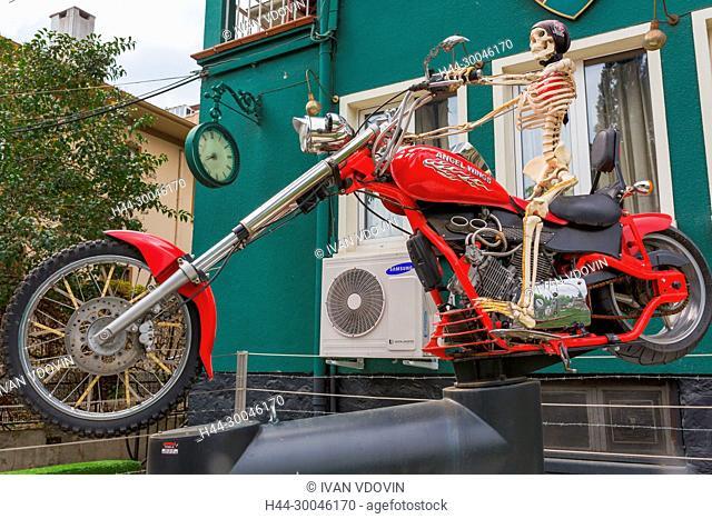 Skeleton on motorbike, Bursa, Bursa Province, Turkey