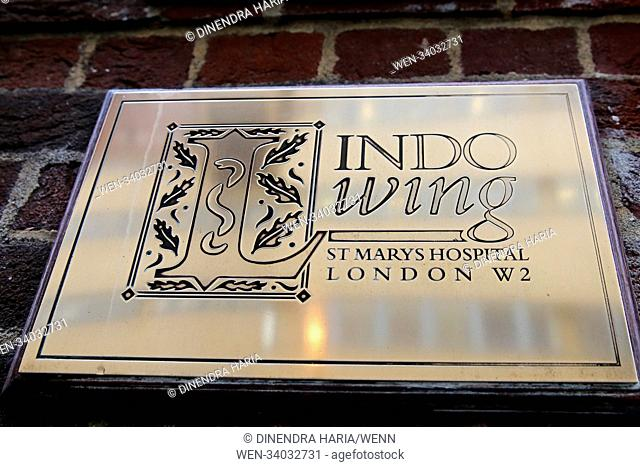 Barriers and parking suspension signs outside Lindo Wing of St. Mary's hospital, Paddington in West London as preparations start for the birth of the Duke and...