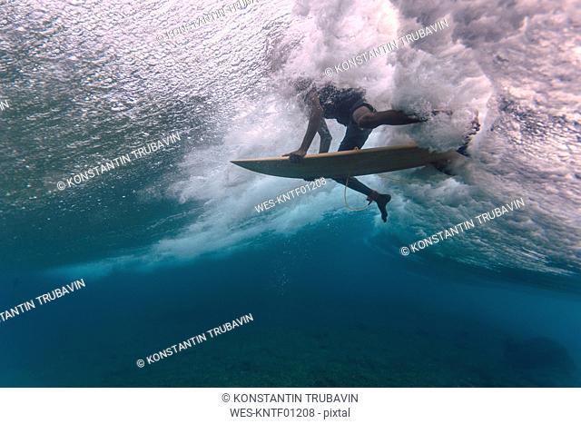 Maledives, Indian Ocean, surfer sitting on surfboard, underwater shot