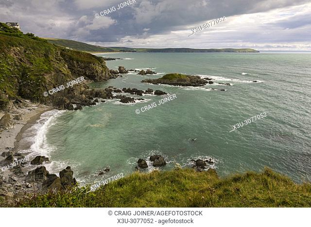 Grunta Beach in Morte Bay from the cliff top near Woolacombe on the North Devon Heritage Coast, England