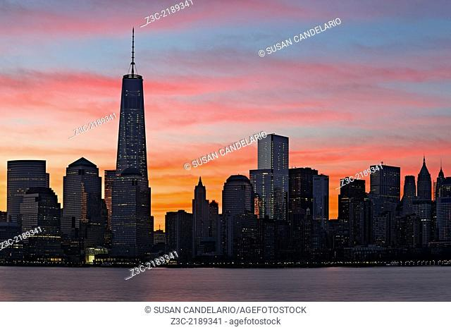 The commonly referred to as the Freedom Tower at One World Trade Center along with the Financial District wake up to a spectacular show of colors during sunrise