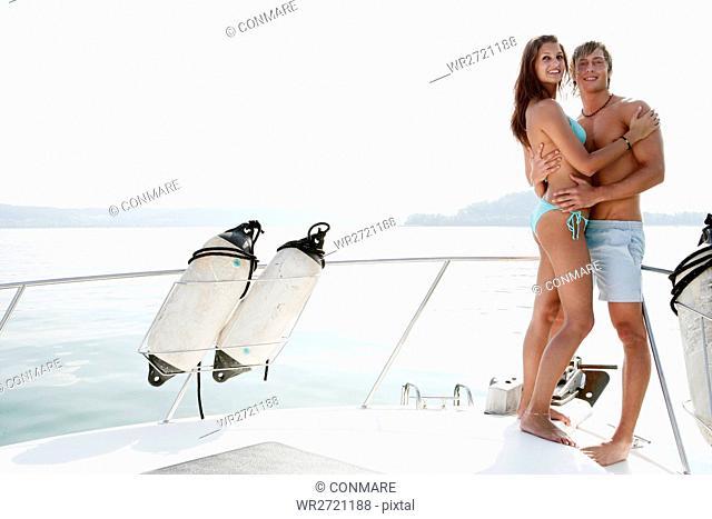 young couple, athletic, beauty, bikini, yacht, por