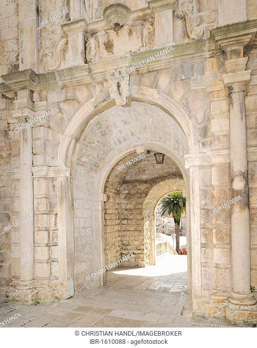 Land gate, Kopnena Vrata, Korcula, Croatia, Europe