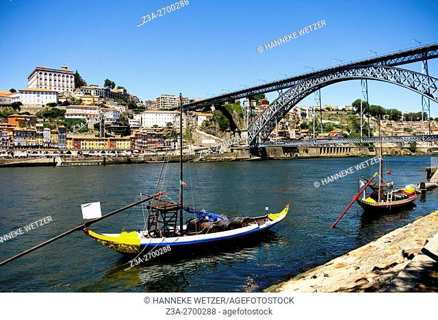 Boats in the river `douro with a view on Porto seen from Vila Nova de Gaia, Portugal