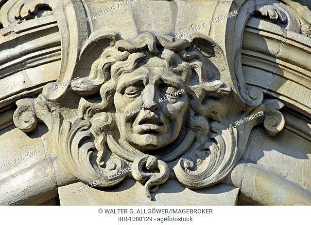 Baroque mask, Higher Regional Court and seat of the Attorney General, Reichensperger Platz Square, Cologne, North Rhine-Westphalia, Germany, Europe