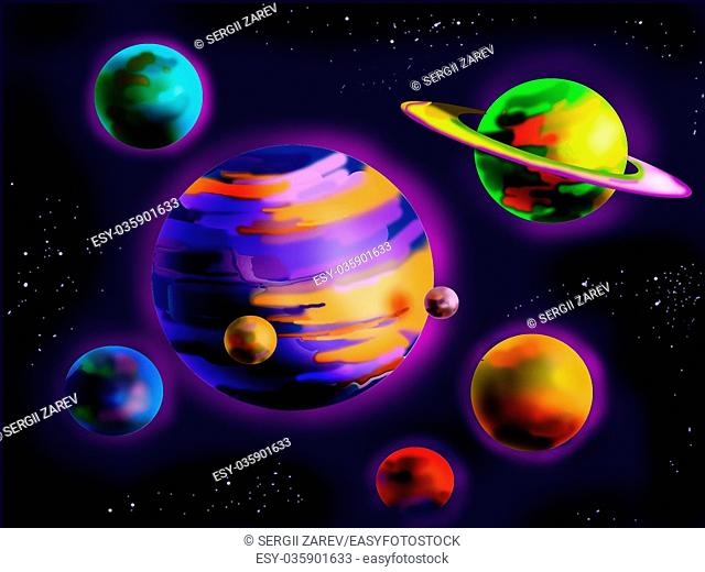 Digital Painting, Illustration of a Fantastic Planets in Space. Cartoon Style Character, Fairy Tale Story Background