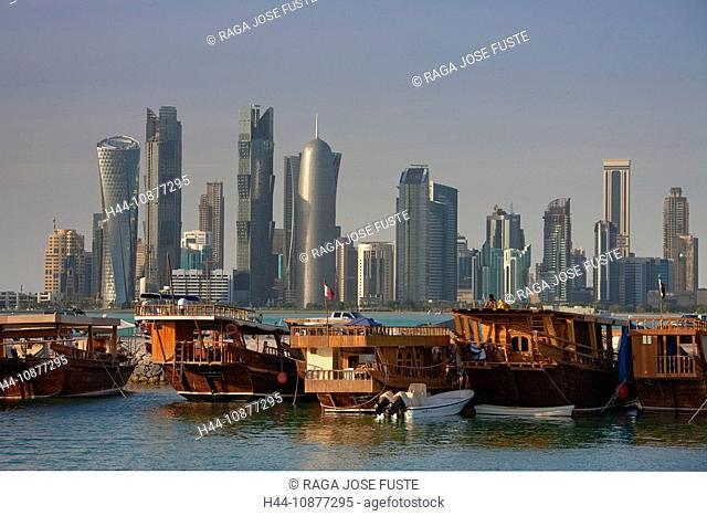 Qatar, architecture, block of flats, high-rise building, Doha, skyline, blocks of flats, high-rise buildings, buildings, constructions, Corniche, sea, water