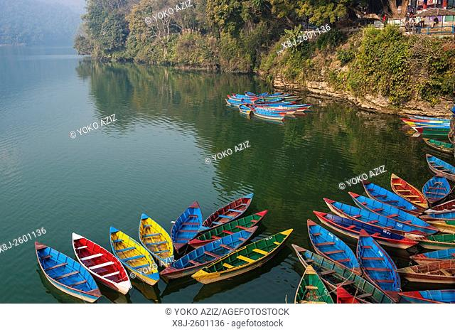 Nepal, Pokhara, local lake, boats