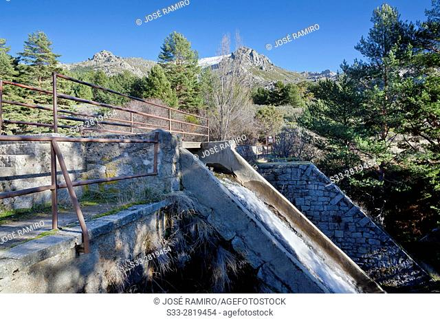 Dam of Pueblo de Navacerrada's reservoir in La Barranca. Sierra de Guadrrama. Madrid. Spain. Europe