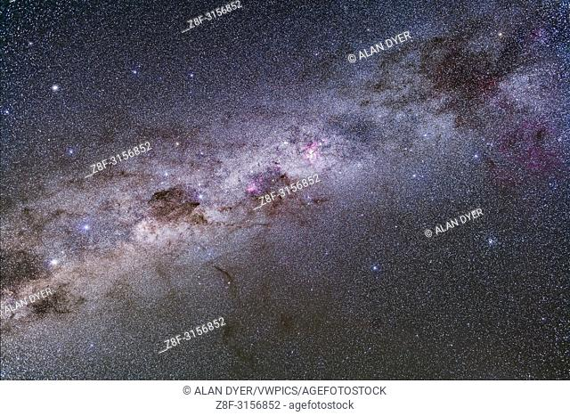 Splendours of the southern Milky Way from Vela (at top right) to Centaurus (at bottom left), including the Carina Nebula, Crux and Coal Sack