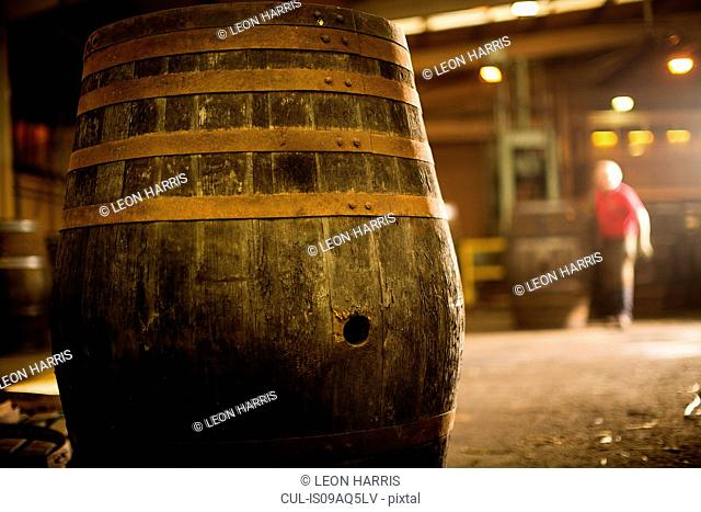 Whisky cask in cooperage