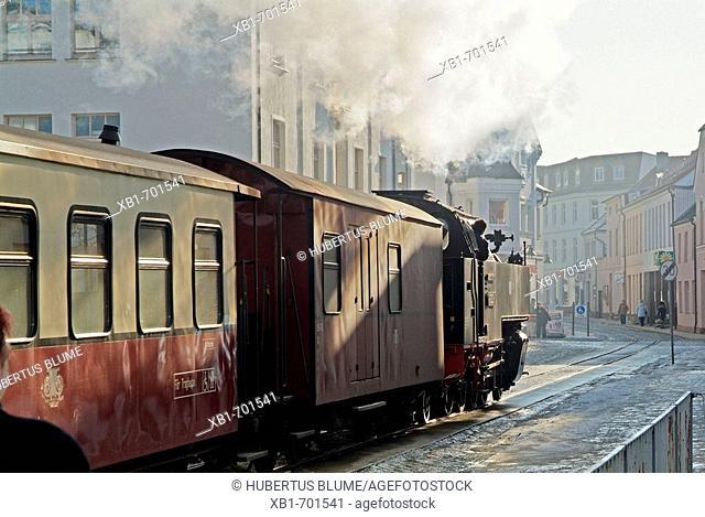 Germany, Mecklenburg-Western Pomerania, Bad Doberan; historic train Molly in wintertime