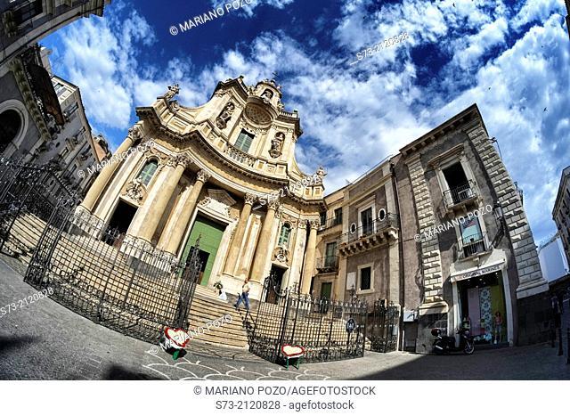 Collegiate church of Santa Maria dell'Elemosina dating from 18th century in Via Etnea, Catania, Sicily