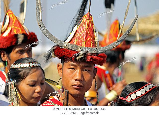 Nocte warrior tribe, man with traditional Wear at Namdapha Eco Cultural Festival, Miao, Arunachal Pradesh, India
