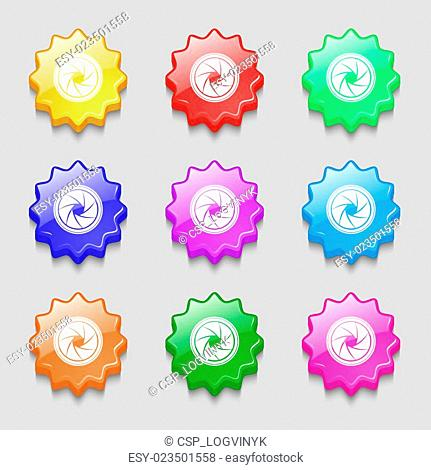 diaphragm icon. Aperture sign. Symbols on nine wavy colourful buttons