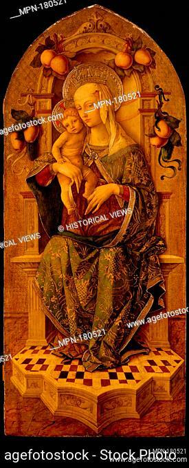 Madonna and Child Enthroned. Artist: Nicola di Maestro Antonio (Italian (active Ancona), 1472-1510) (?); Former Attribution: Attributed to Carlo Crivelli...