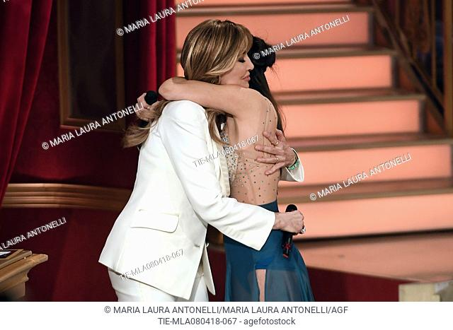Milly Carlucci and Gessica Notaro scarred with acid from the ex-boyfriend during the tv show Dancing with the stars, Rome, ITALY-07-04-2018
