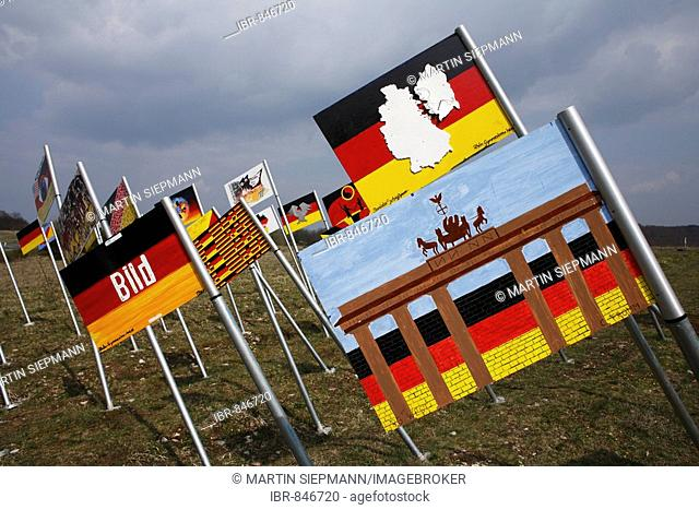 Field of flags, Sculpture park national monument to German unity on the Thuringian/Bavarian border near to Henneberg, Rhoen-Grabfeld, Lower Franconia, Bavaria